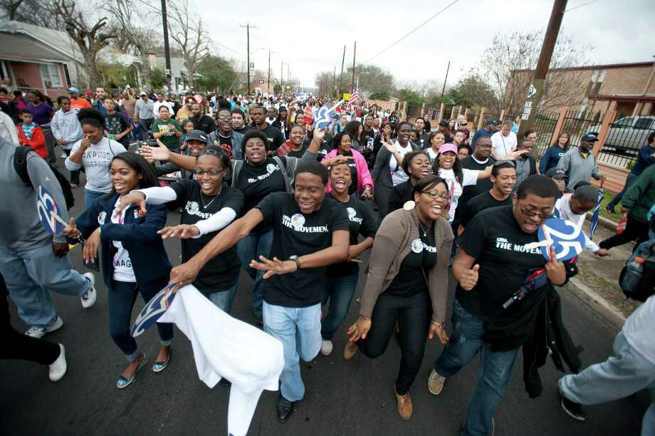 San Antonio will again turn out to commemorate Martin Luther King Jr. with a parade and other rememberances on Monday. Two years ago, UTSA students participated in the parade. Photo: MARK MCCLENDON /COURTESY PHOTO / Property of UTSA