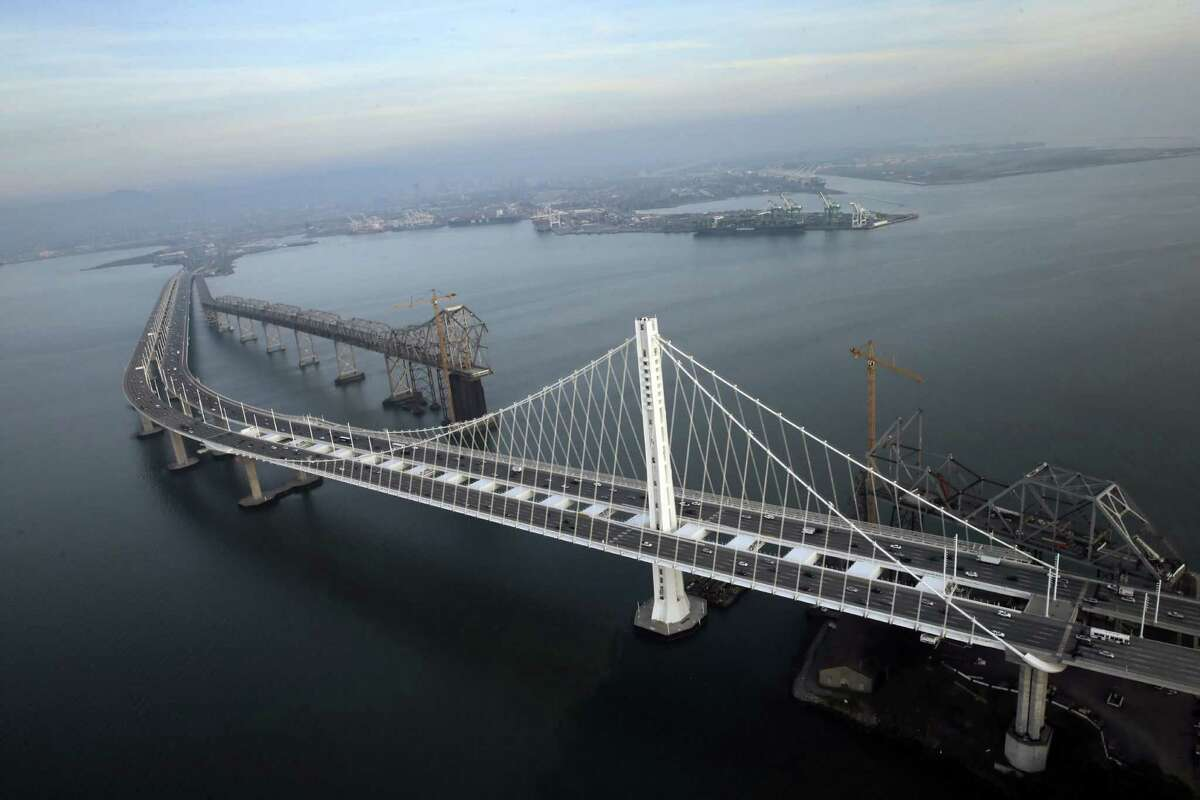 An aerial view of the Bay Bridge on Wednesday.