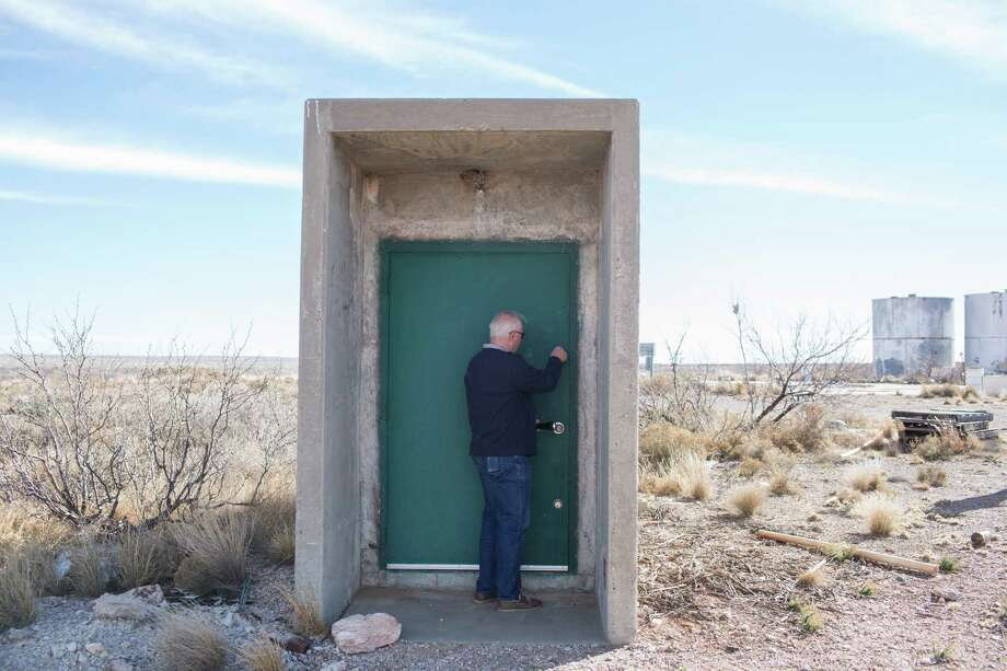 Jim Moore, the listing agent for an old ICBM silo outside of Roswell, N.M., locks up after showing the property to one of many potential buyers. Photo: RICK SCIBELLI JR., STR / NYTNS