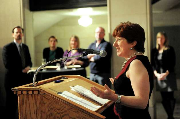 Mayor Kathy Sheehan, right, speaks during the kick off of the 6th Anniversary Albany Chefs' Food & Wine Festival: Wine & Dine for the Arts on Thursday, Jan. 15, 2015, at City Hall in Albany, N.Y. This year's beneficiaries are the Albany Barn, Albany Institute of History & Art, Capital Repertory Theatre, The Palace Theatre and Park Playhouse. Events continue Friday and Saturday For more information visit http://www.albanywinefest.com. (Cindy Schultz / Times Union) Photo: Cindy Schultz / 00030228A