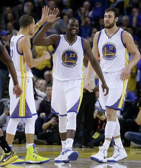 """Draymond Green, center, is considered the """"heart and soul"""" of the NBA's best team, the 31-5 Warriors, because of the many intangibles he brings to the team. Photo: Ben Margot, STF / AP"""