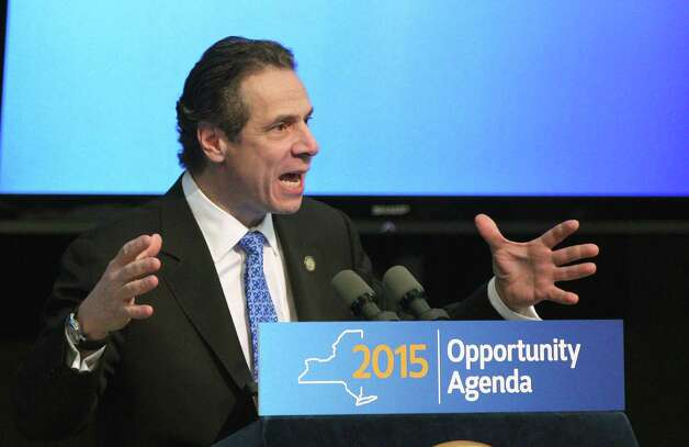 New York State Gov. Andrew Cuomo speaks about the Upstate Revitalization Program, which pledges 1.5 Billion to upstate cities, Thursday, Jan. 15, 2015 in Rochester, N.Y. (AP Photo/Democrat & Chronicle, Jamie Germano) ORG XMIT: NYROD101 Photo: Jamie Germano / Democrat & Chronicle