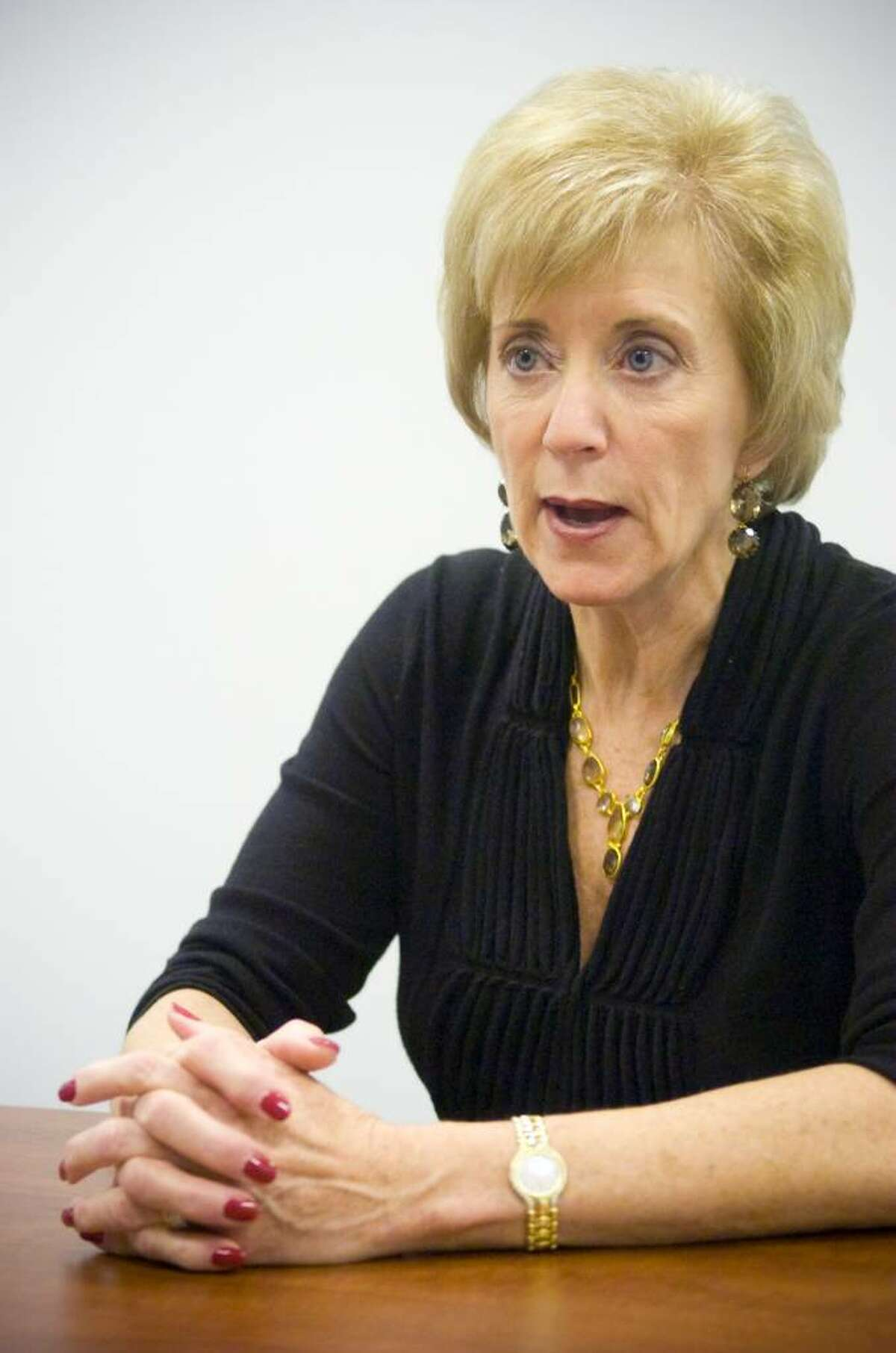 File photo of Linda McMahon, former CEO of World Wrestling Entertainment and current Republican candidate for U.S. Senate, during an interview at her campaign headquarters in Stamford, Conn. on Tuesday, Dec. 15, 2009.