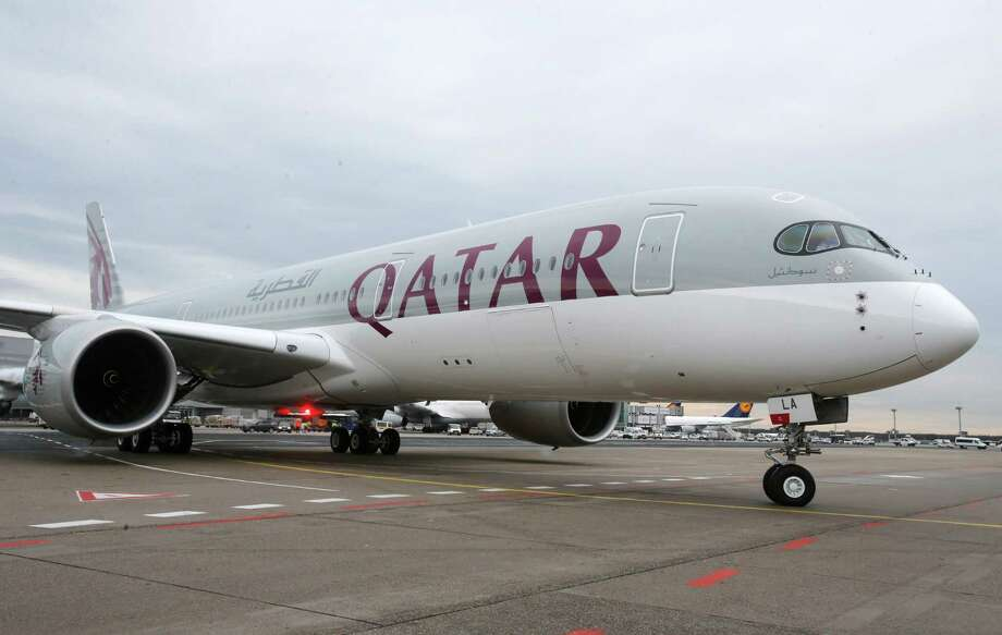 The new Airbus A350 of Qatar Airways approaches the gate Thursday in Frankfurt, Germany. Photo: Michael Probst, STF / AP