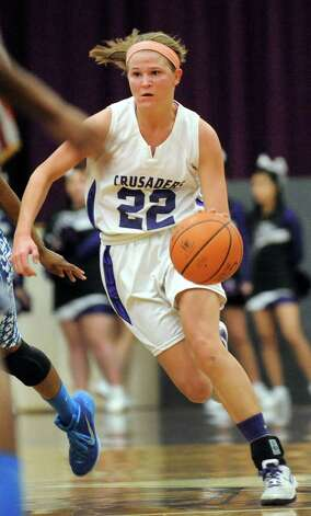 CCHS's Madison Purcell drives up court during their basketball game against Albany on Thursday, Jan. 15, 2015, at Catholic Central High School in Troy, N.Y. (Cindy Schultz / Times Union) Photo: Cindy Schultz / 00030165A