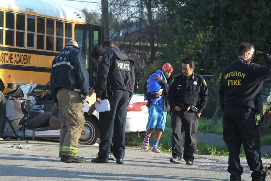 A school bus and car collided about 7 a.m. Friday on Tierwester near Mainer, according to the Houston Fire Department. Photo: James Nielsen / Houston Chronicle / Houston Chronicle 2011