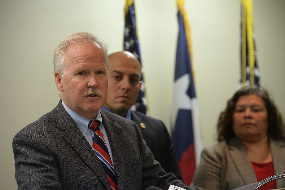 U. S. Attorney John M. Bales addresses the media and federal agents to announce the guilty plea of Juan Francisco Saenz-Tamez, the head of the Gulf Cartel, in federal court in Beaumont Tuesday. Saenz-Tamez pled to several counts of conspiracy to distribute drugs and money laundering. His arrest and conviction was a joint effort on the part of several federal agencies, including the Attorney General's office, the DEA, IRS and Homeland Security. Bales recognized the efforts of agents and noted the impact the conviction has on the Mexican drug cartel, for whom the I-10 corridor through eastern Texas is a gateway for distribution of marijuana and other narcotics throughout the U. S.  Photo taken Thursday, January 15, 2015  Kim Brent/The Enterprise Photo: KIM BRENT / Beaumont Enterprise