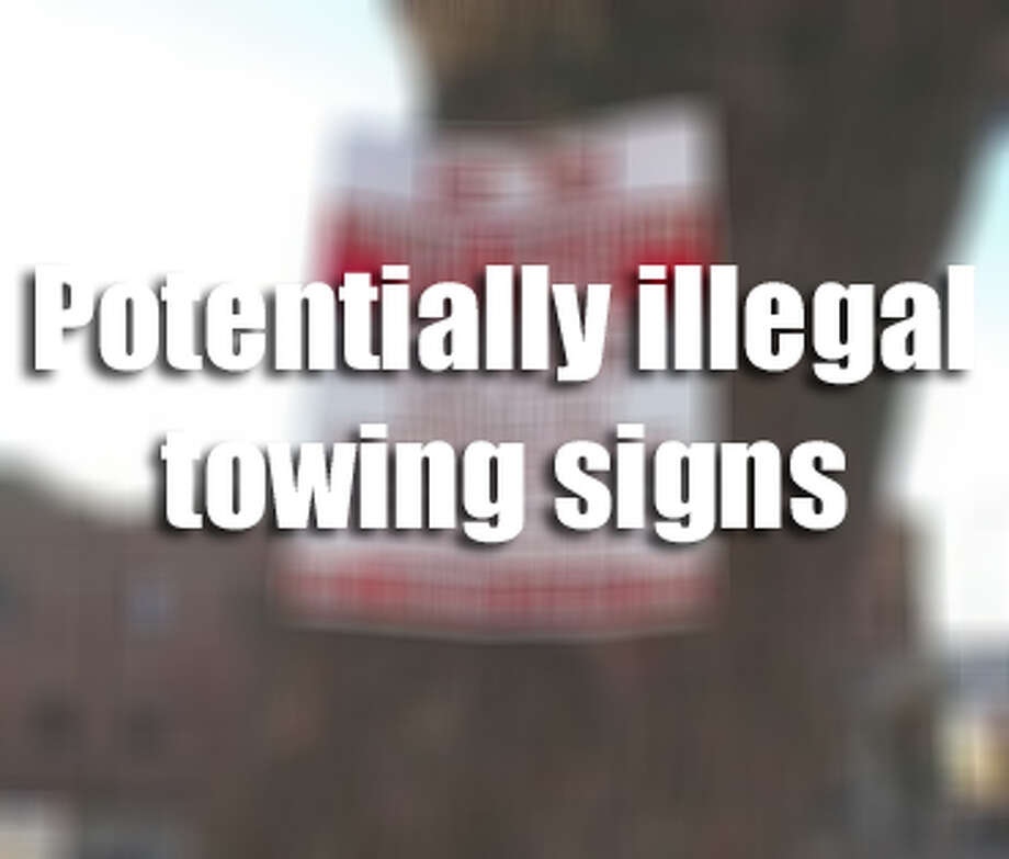 Could you tell if a towing sign were illegal?While owners of private property are allowed to have unwanted vehicles towed from their premises at the expense of the vehicle's owners, the Texas Department of Licensing and Regulation sets very specific requirements of what tow signs must read and the maximum amount owners may have to pay to reclaim their vehicle. The signs, collected by  included by the fair towing advocates at Texas Towing Compliance are examples of signs which may be outdated, charge above the maximum for towing, may be incorrectly displayed, contain incorrect verbiage of possibly violate tow sign regulations. Photo: Texas Towing Compliance