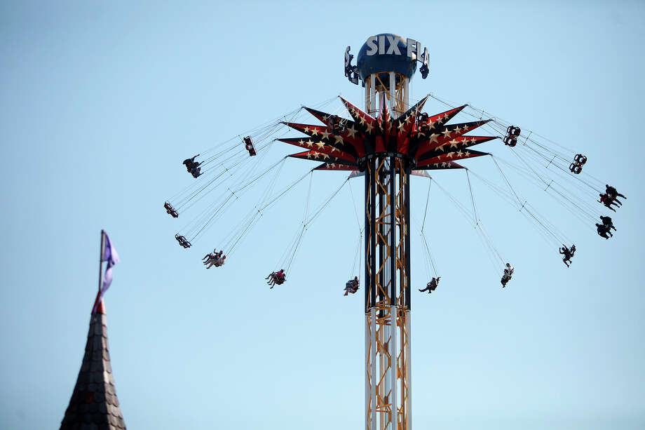 VIP guests ride SkyScreamer during a preview event for the new ride at Six Flags Fiesta Texas in San Antonio on Tuesday, May 22, 2012. Photo: Lisa Krantz, San Antonio Express-News / San Antonio Express-News