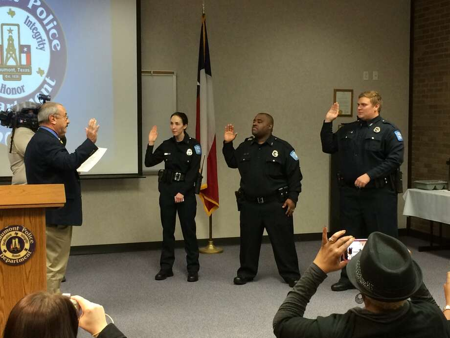 Beaumont Police Chief Jimmy Singletary on Friday swore in three new officers: Katherine Toms, Deron Simpson and Ethan Cowart. Jeff Dixon/The Enterprise