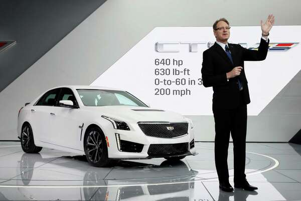 FILE - In this Jan. 13, 2015 file photo, Cadillac president Johan de Nysschen introduces the 2016 CTS-V during media previews for the North American International Auto Show in Detroit. The health of the car industry can be measured by the number of growling, preening performance cars on the show floor.  (AP Photo/Paul Sancya, File) ORG XMIT: NYBZ158