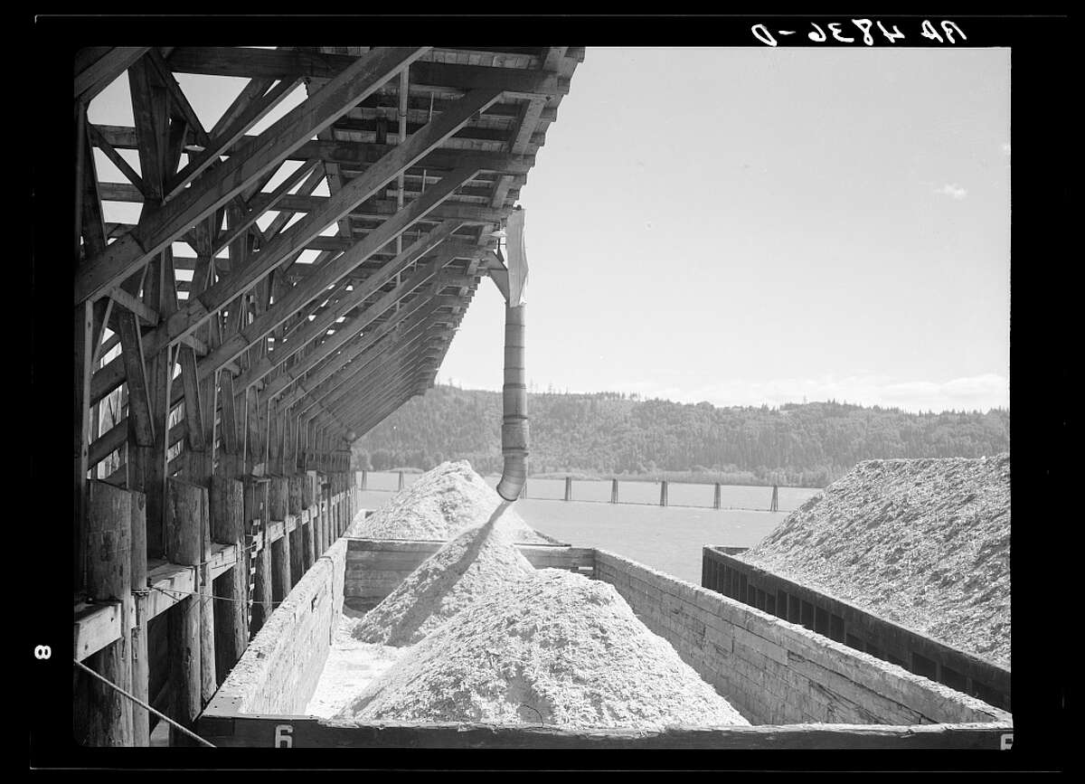 Sawdust from the Longview sawmill is dumped into barges on the Columbia River. Longview, Wash., July 1936.
