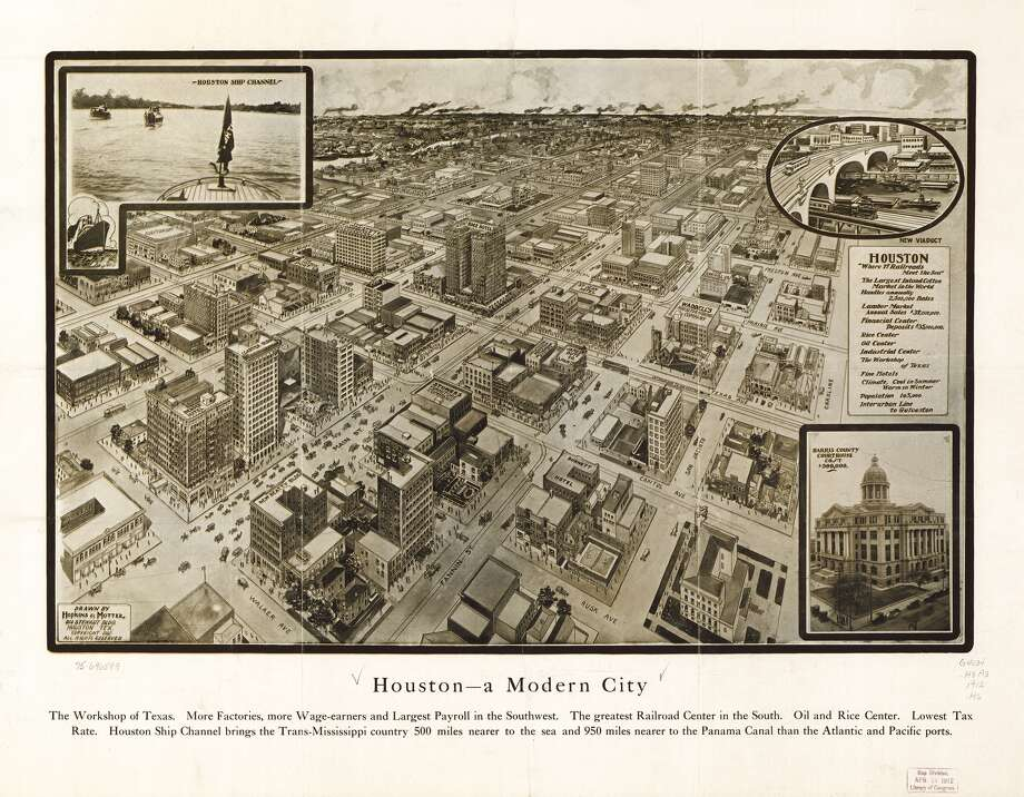 Houston,1912, is shown.Houston entered the top ten largest U.S. list in 1960. It's been the largest city in Texas since 1930. Photo: Hopkins & Motter