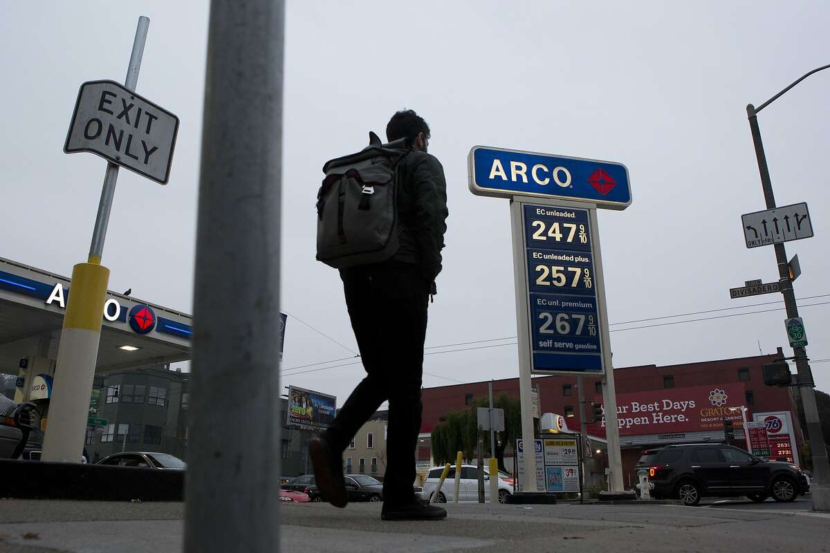 A pedestrian walks by Arco gas station on Divisadero St. on January 16, 2015 in San Francisco, Calif.