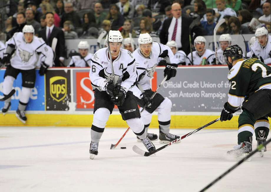 San Antonio Rampage right wing Bobby Butler (left), shown in a file photo, scored his 16th goal of the season on Jan. 17 in a victory over the Rochester American. Photo: Darren Abate /AHL / Darren Abate/DA Media, LLC