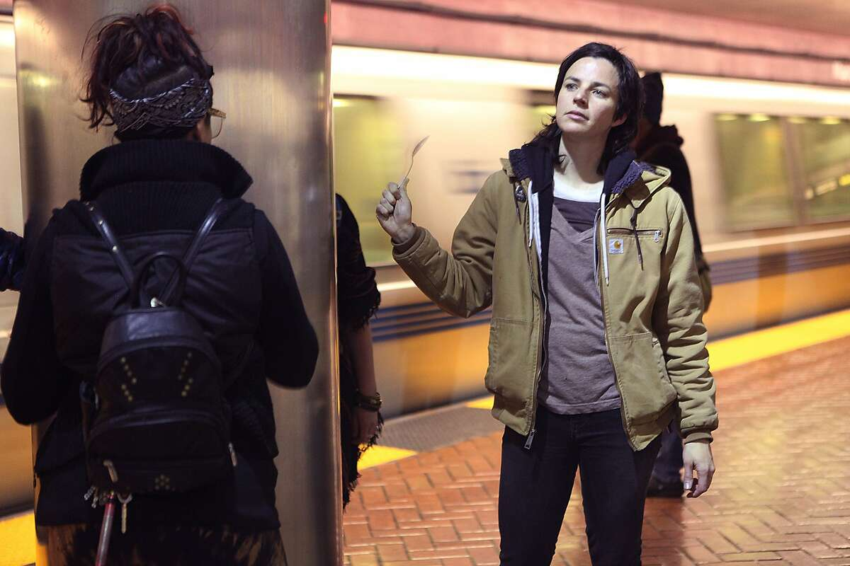 Jordan Reznick from San Francisco was one of the protesters hitting spoons on metal poles at the Montgomery Bart station platform in San Francisco, Calif., on Friday, January 16, 2015.
