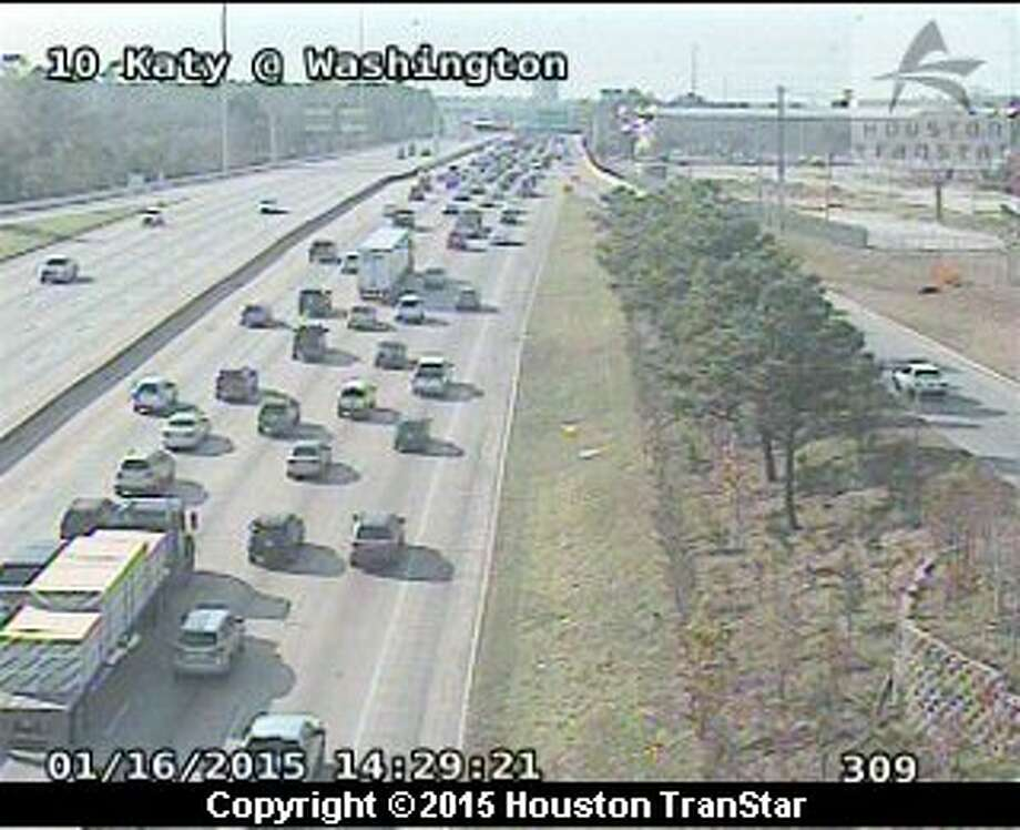A four-vehicle accident has shut down four lanes of eastbound Interstate-10 near West Loop 610 on Friday, Jan. 16, 2015. Photo: Houston TranStar
