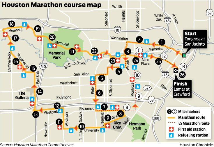 2015 Chevron Houston Marathon course changes wMAP Houston