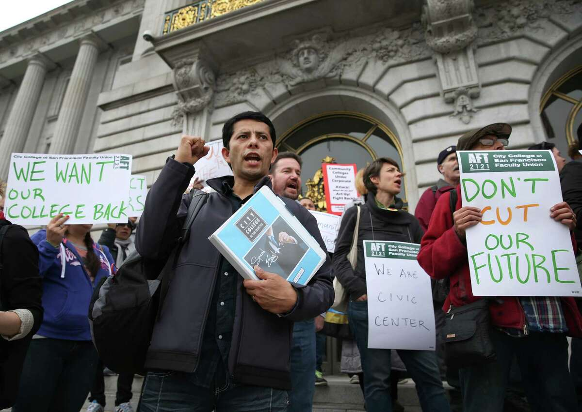 Top: Student Enrique Leon joins a rally at City Hall protesting the closure of a City College building on Eddy Street.