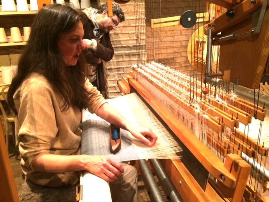 Adele Stafford weaves at 21POP: COTTON Photo: Photo By Leah Garchik / Leah Garchik/The Chronicle