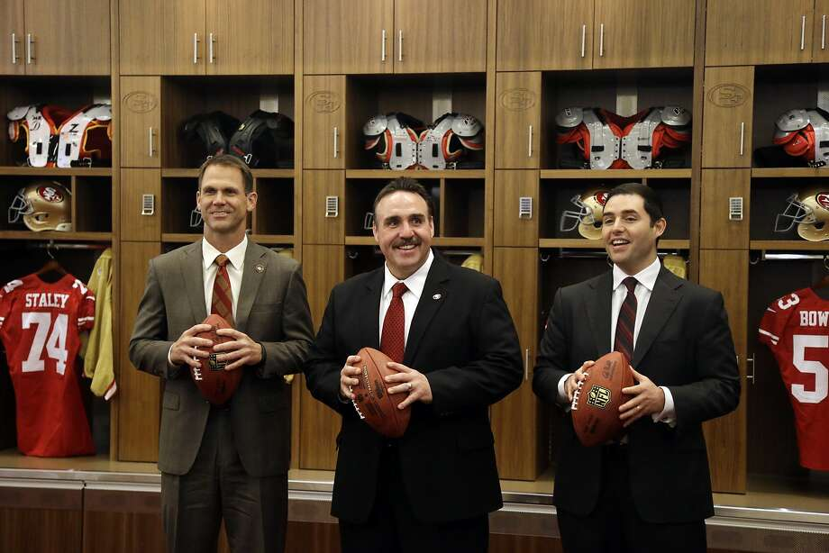 San Francisco 49ers head coach Jim Tomsula, center, with general manager Trent Baalke, left, and owner Jed York during an NFL football press conference Thursday, Jan. 15, 2015, in Santa Clara, Calif. (AP Photo/Marcio Jose Sanchez) Photo: Marcio Jose Sanchez, Associated Press