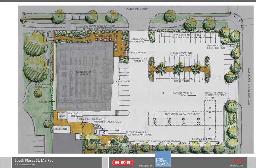 Updated renderings show the project would include about 50 parking spaces, a fuel station with four gas pumps and an outdoor dining patio.