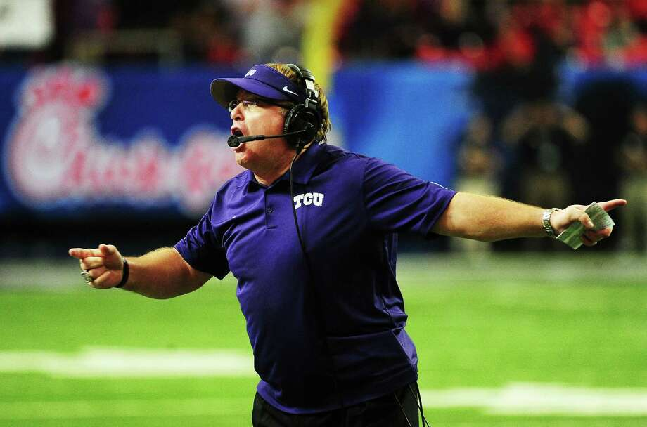 Head ccoach Gary Patterson of the TCU Horned Frogs reacts in the second quarter against the Ole Miss Rebels during the Peach Bowl at Georgia Dome. Photo: Scott Cunningham /Getty Images / 2014 Getty Images