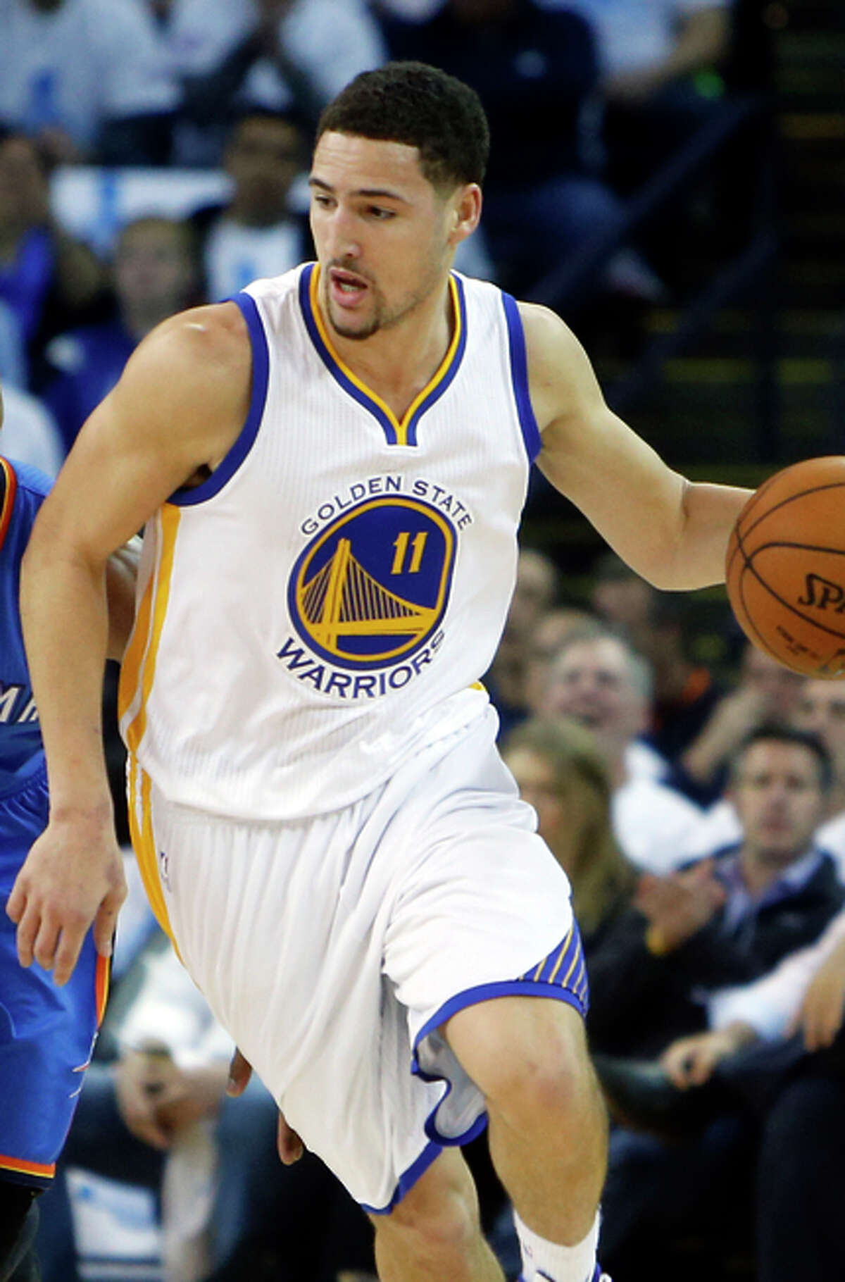 Golden State Warriors' Klay Thompson during 117-91 win over the Oklahoma City Thunder in NBA game at Oracle Arena in Oakland, Calif. on Monday, January 5, 2015.