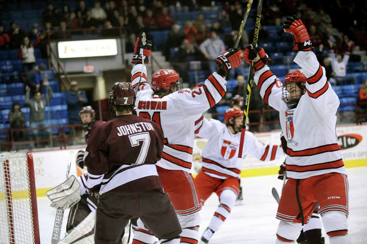 RPI celebrates a first-period goal during their hockey game against Colgate on Friday, Jan. 16, 2015, at Houston Field House in Troy, N.Y. (Cindy Schultz / Times Union)