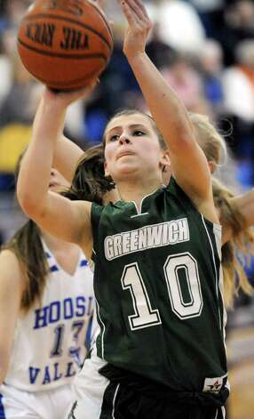 Greenwich's Alexis Case shoots for the hoop during their basketball game against  Hoosic Valley on Friday, Jan. 16, 2015, at Hoosic Valley High in Schaghticoke, N.Y. (Cindy Schultz / Times Union) Photo: Cindy Schultz / 00030214A