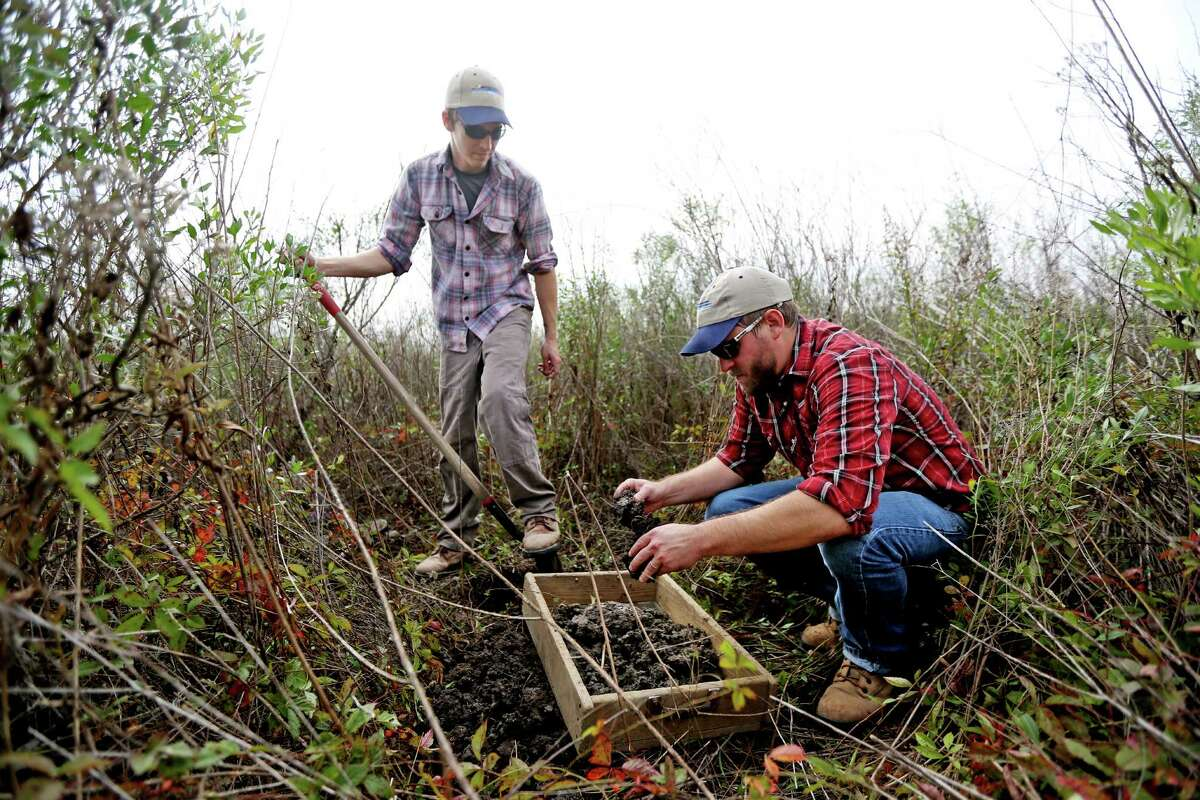 David Treichel, left, field director, and Charles Bludau, senior project manager for HRA Gray & Pape, pick through clay looking for artifacts while conducting an archaeological site survey for a development planned in Brazoria County.