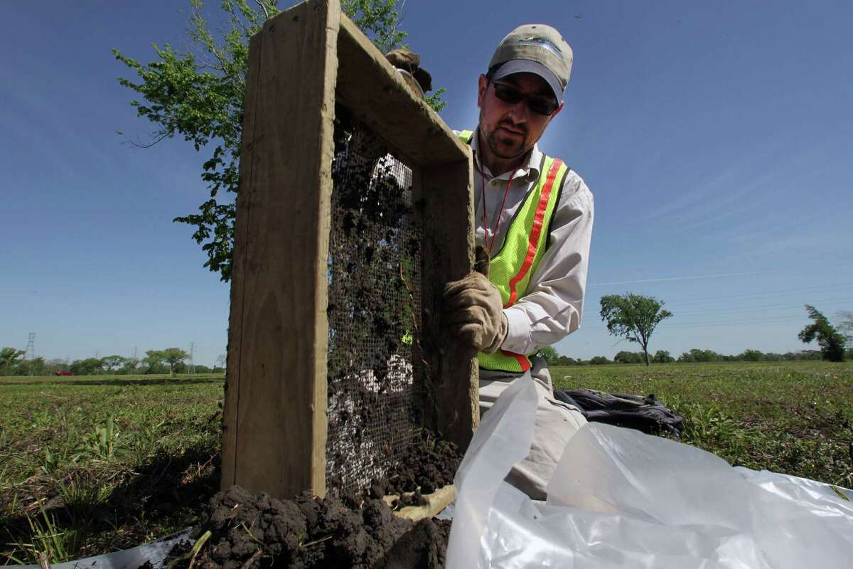 Tony Scott cleans a sifting screen during a search at the San Jacinto Battleground. His archaeological work was a preliminary step to reseeding the grounds with native grasses.