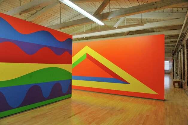 Artwork that is part of the wall drawing exhibit is seen in a gallery inside Mass MoCA on Wednesday, Jan. 14, 2015, in North Adams, Mass.  (Paul Buckowski / Times Union) Photo: Paul Buckowski / 00030194A
