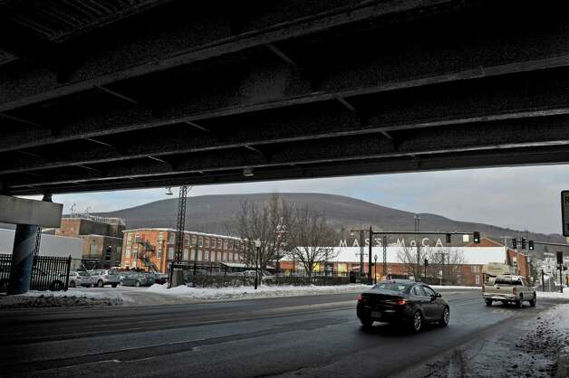 A view of the Mass MoCA complex from under the Route 2 overpass on Wednesday, Jan. 14, 2015, in North Adams, Mass.  (Paul Buckowski / Times Union) Photo: Paul Buckowski / 00030194A