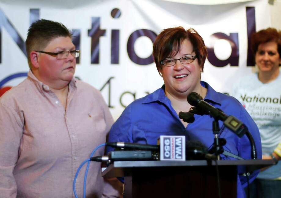 April DeBoer, right, and her partner Jayne Rowse, are among plaintiffs from four states who will have their appeal heard. Photo: Paul Sancya / Associated Press / AP