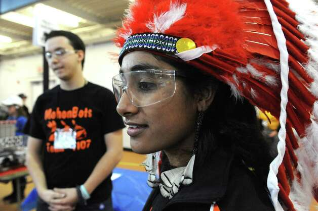 Mohonasen High School junior Kunika Chahal, left, watches with teammates on the MohonBots team the Albany Academies hosted 2nd Annual Capital Region Empire New York FIRST Tech Challenge Tournament on Saturday Jan. 17, 2015 in Albany, N.Y. (Michael P. Farrell/Times Union) Photo: Michael P. Farrell / 00030249A
