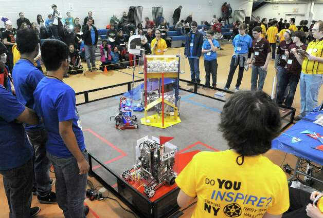 High School students take part in the Albany Academies hosted 2nd Annual Capital Region Empire New York FIRST Tech Challenge Tournament on Saturday Jan. 17, 2015 in Albany, N.Y. (Michael P. Farrell/Times Union) Photo: Michael P. Farrell / 00030249A