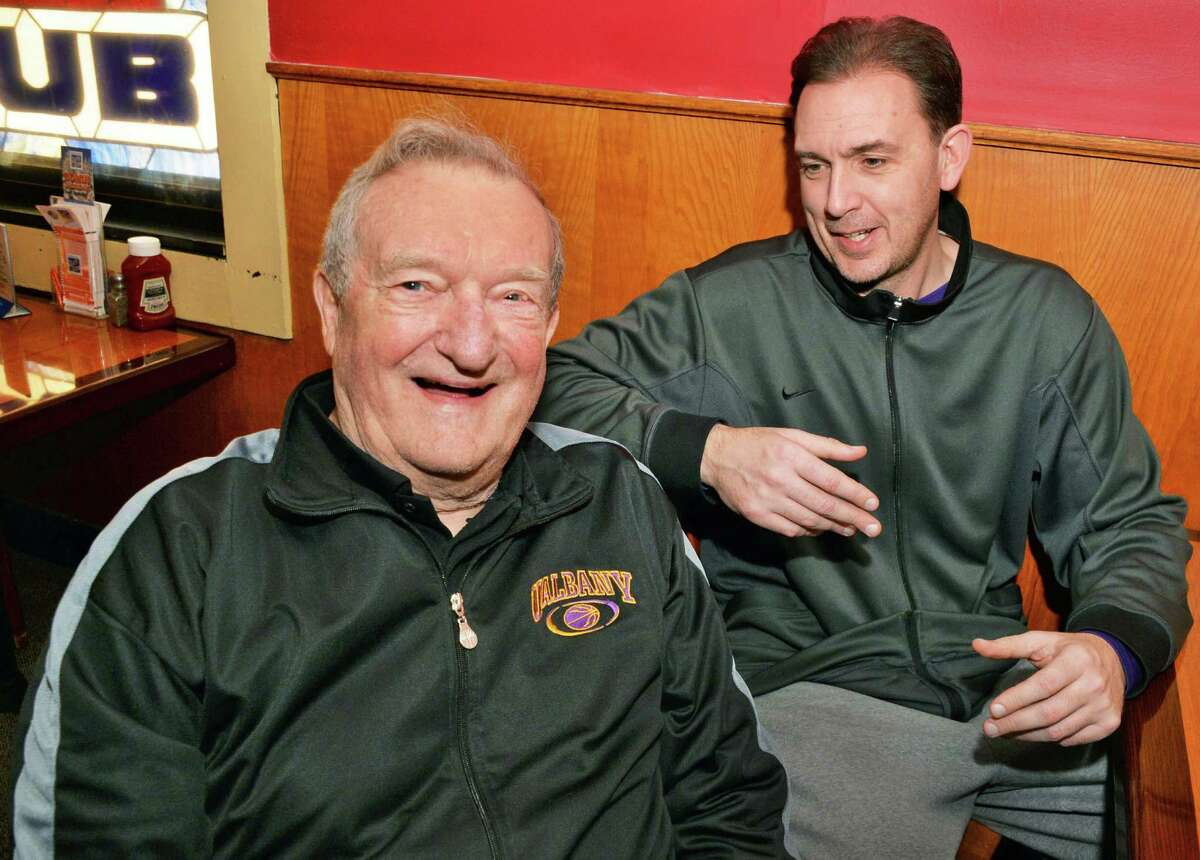 Longtime area basketball coach Don Bassett, left, and UAlbany men's basketball head coach Will Brown during their lunch break Tuesday Jan. 13, 2015, in Albany, N.Y. (John Carl D'Annibale / Times Union)