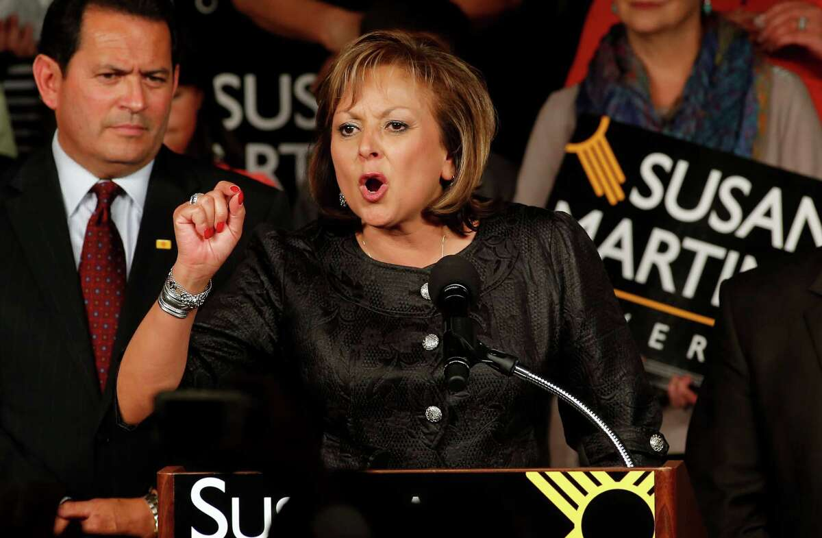 FILE - In this Nov. 4, 2014 file photo, New Mexico Gov. Susana Martinez delivers her victory speech on election night in Albuquerque, N.M. The priorities are much the same, scrape New Mexico from the bottom of the nation's education rankings, keep the state's children safe and find a way to boost economic development and job creation. The best route for accomplishing those goals is what Martinez and the state Legislature will be hashing out when the 60-day session begins Tuesday, Jan. 20, 2015. (AP Photo/Andres Leighton)