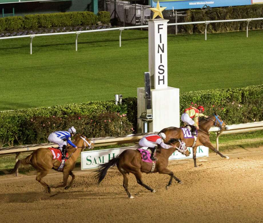 Action/scene from the opening night of racing at Sam Houston Race Park. Sam Houston Race Park, 7575 N. Sam Houston Parkway West. ID: #10 Smudge ridden by B. Morales wins the 5th race tonight. Friday January 16, 2015 Photo: Craig Hartley, For The Chronicle / Copyright: Craig H. Hartley