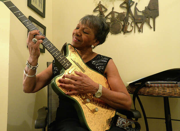 Beaumont's Barbara Lynn, an R&B legend who has played alongside some of the world's best-known musicians, strums her newest, custom-made guitar in the dressing room before her 73rd birthday celebration Saturday night at the Jefferson Theatre. Photo taken Saturday, January 17, 2015 Kim Brent/The Enterprise Photo: Kim Brent / Beaumont Enterprise