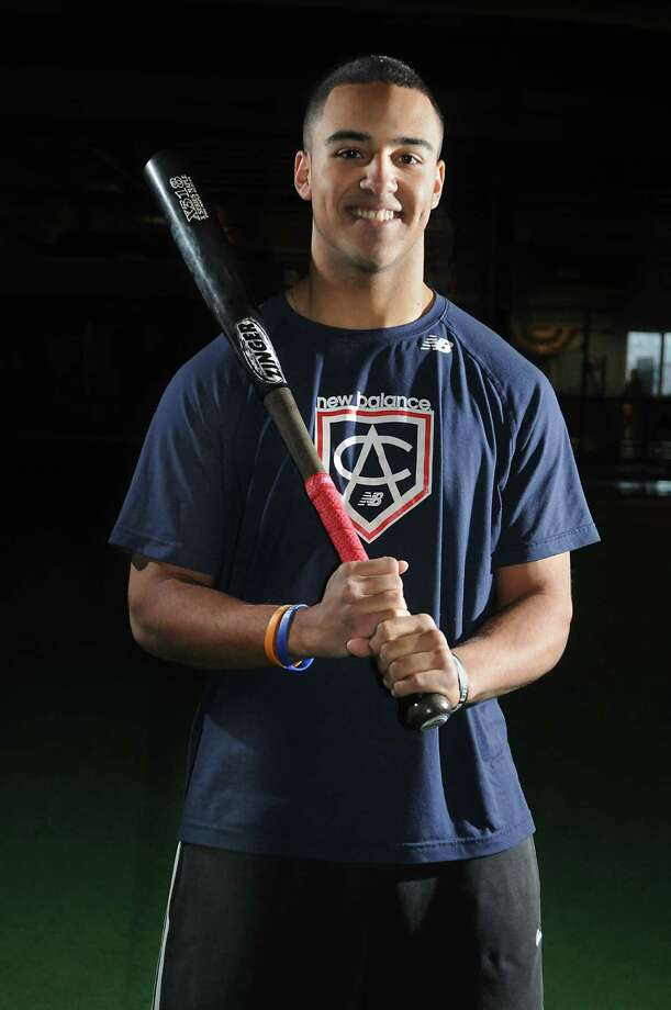 Niskayuna baseball player Garrett Whitley stands with his bat at AllStars Academy on Friday, Jan. 16, 2015 in Latham, N.Y. Whitley could be drafted in the first round of the 2015 MLB draft in June. (Lori Van Buren / Times Union) Photo: Lori Van Buren / 00030233A