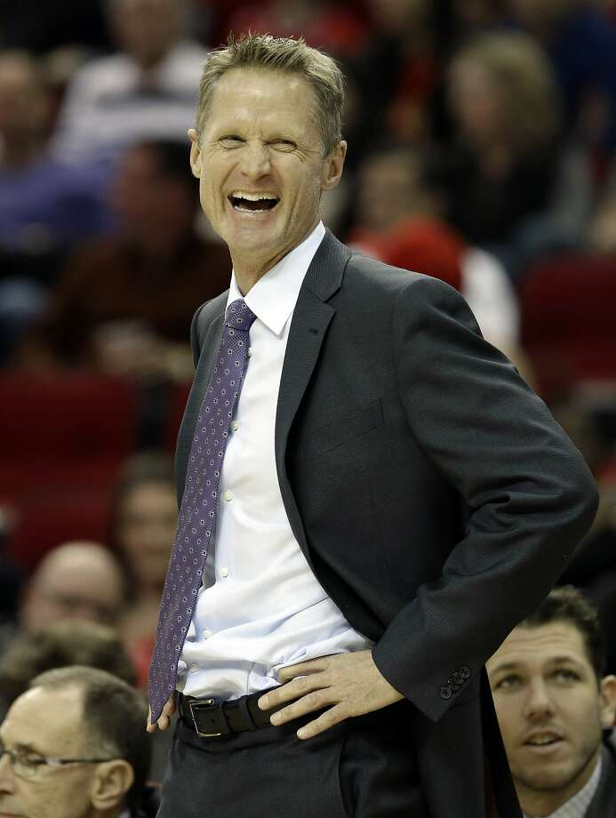 FILE - Golden State Warriors coach Steve Kerr laughs at a referee in the first half of an NBA basketball game against the Houston Rockets, Saturday, Jan. 17, 2015, in Houston.  Photo: Pat Sullivan, Associated Press
