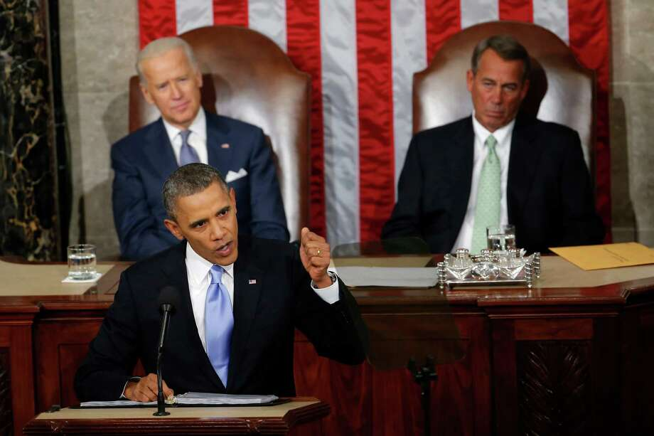 President Barack Obama gives his State of the Union address Jan. 28, 2014. Tuesday night will be the second-to-last time he'll give the speech, and the first time he'll give it before a GOP-led Congress. Photo: Associated Press File Photo / AP