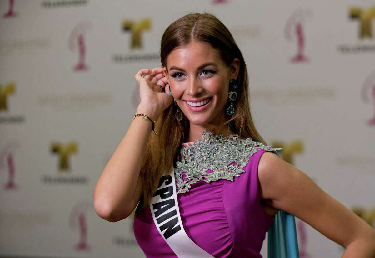 Miss Universe contestant Desire Cordero of Spain, poses for a photo after a news conference for contestants from Latin America and Spain, Monday, Jan. 12, 2015 in Doral, Fla. The Miss Universe pageant will be held Jan. 25, in Miami.