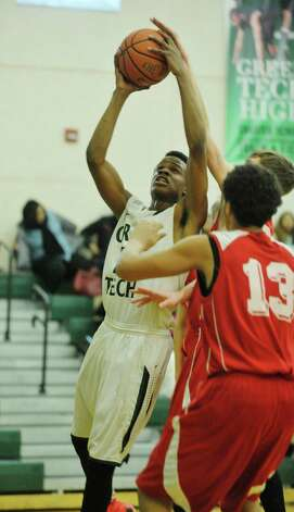 Anquan McLean of Green Tech Charter School drives up to the basket during their game against Niagara Catholic on Sunday, Jan. 18, 2015, in Albany, N.Y.  (Paul Buckowski / Times Union) Photo: Paul Buckowski / 00030251A