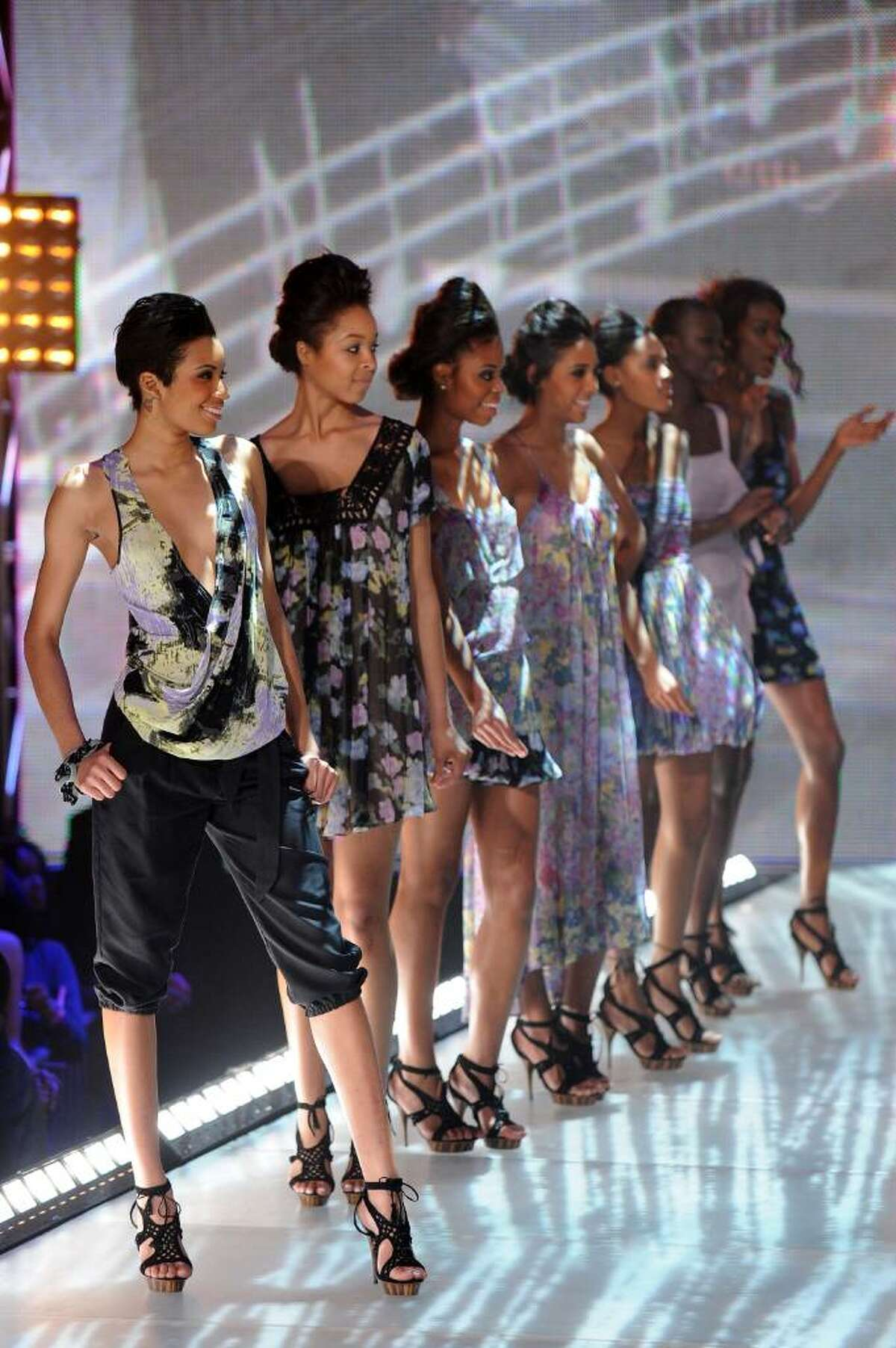 NEW YORK - FEBRUARY 27: Models walk the runway at BET's Rip The Runway 2010 at the Hammerstein Ballroom on February 27, 2010 in New York City. (Photo by Bryan Bedder/Getty Images)