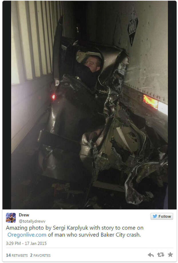 Kaleb Whitby's Chevy Silverado was crushed between two tractor-trailers near Baker City, Ore.  Photo: Twitter