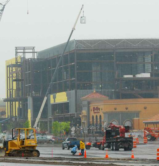 view of movie theater under construction at colonie center
