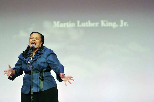 """Actress and singer Barbara Howard performs """"Still I Rise"""" during the Dr. Martin Luther King, Jr. Holiday Memorial Observance at the Empire State Plaza Convention Center on Monday, Jan. 19, 2015, in Albany, N.Y.   (Paul Buckowski / Times Union) Photo: Paul Buckowski / 00030151A"""